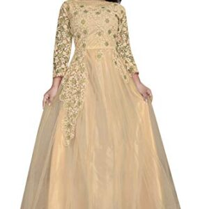 Active Feel Free Life Women's Net Embroidery Semi-Stitched Gown (Bridle Gown-17_Free Size)