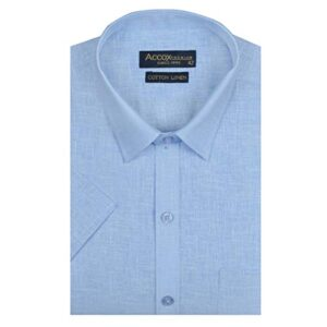 ACCOX Men's Half Sleeves Formal Regular Fit Cotton Linen Shirt(GO539)