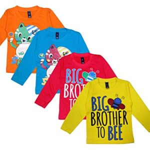Baba & Baby Kids Round Neck Full Sleeves Printed Cotton Tshirts Pack of 4