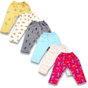 BAYBEE Baby Cotton Pyjamas Pant Bottom | Pack of 6 Assorted Colours & Cute Prints May Vary Sleep Pants-Pyjama for Boys and Girls-Night Wear Pajama Combo Pack of Newborn Baby Multicolored