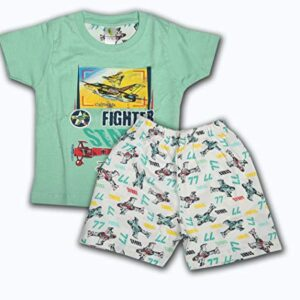 BENAVJI Summer Wear Printed Round Neck Cotton T-Shirt and Short Dress for Baby Pack of 1