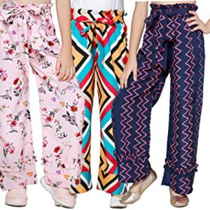 CUTIEKINS Regular Fit Polyester Multicolour's Bottom Frill Palazzo for Girls – Combo Pack of 3