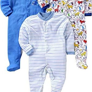 Baby Station Unisex Long Sleeve Cotton Sleep Suit/Romper Set of 3pcs