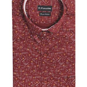 A ForeAN Men's Printed Regular Fit Cotton Blend Full Sleeves Semi Formal/Casual Shirt