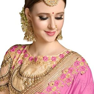 FashionFort Women's Georgette Saree With Blouse Piece (FFTZ-31_Pink & Gold)