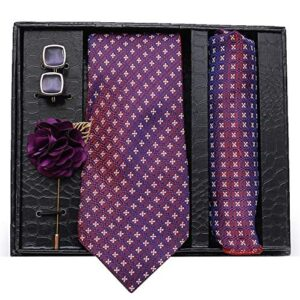 Axlon Men Formal/Casual Jacquard Neck Tie Pocket Square Accessory Gift Set with Cufflinks and Lapel Pin – Purple (Free Size)