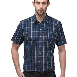 ACCOX Half Sleeves Checkered Formal Regular Fit Cotton Check Shirt for Men