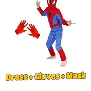 Baby & Sons Complete Spiderman Costume + Gloves + Mask Superhero Costume (6-7 Years)