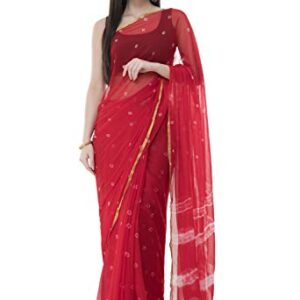 Bunny Creation Women's Plain Weave Chiffon Saree With Un-stitched Blouse (15_Red)