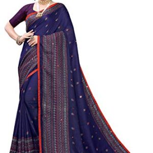 Anni Designer Women's Jute Silk Printed Mirror Embroidery Saree With Blouse