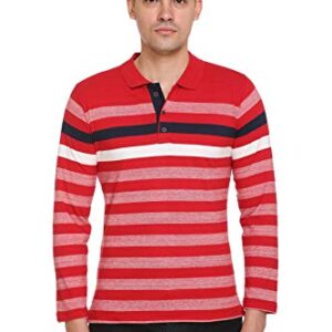 aarbee Men's Cotton Spandex Polo Collar Striped Full Sleeve Tshirt
