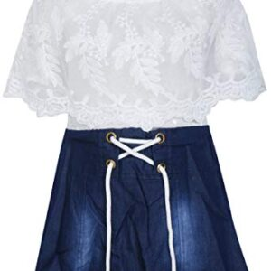 BENKILS Baby Girl's Denim Skirt Top Dresses White and Blue