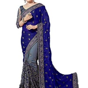 GLAMFLOX Women's Pure Georgette Saree With Unstitched Blouse