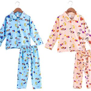 Trendy House Baby Girls & Boys 100% Cotton Night Suit Sets Cotton Shirts and Pyjama Set Pack of 2