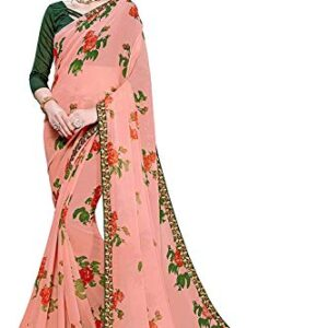 Archaic Trending Beautiful Floral Printed Georgette Saree with Blouse Piece