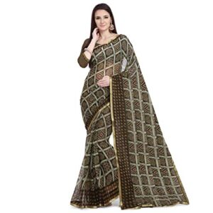 Anni Designer Women's Chiffon Handcrafted Traditional Bandhani Chex Saree