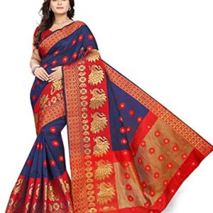 ANGHAN BROTHERS Women's Cotton Saree With Un-stitched Blouse